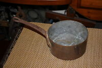 Antique Copper Metal Sauce Pan Iron Handle Aged Patina Country Decor Kitchen