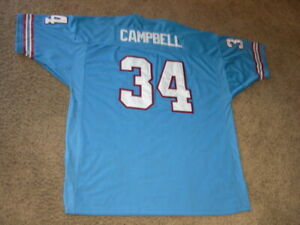 Houston Oilers EARL CAMPBELL fully sewn thick Football Jersey size 58 men's 4XL