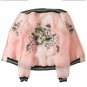 2020 New Women Flower Embroidery Baseball Jacket Reversible Ladies Outwear Coat