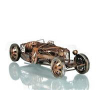 "Bugatti 35 Cutaway Car Model w/ Decorative Scrolls 15"" Metal Automobile Decor"