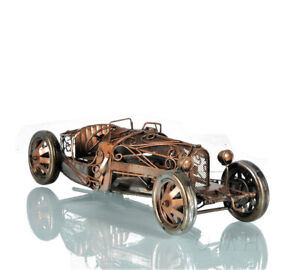 "Bugatti 35 Car Model Open Frame w/ Decorative Scrolls 15"" Metal Automobile Decor"