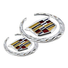 Chrome XTS CTS ATS Wreath Logo Front Grille Rear Trunk Lid Emblems for Cadillac