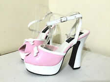 PLEASER DOLLY PEEPTOE BABY PINK/ WHITE PLATFORM STRAPPY SHOES, SIZE 5 UK, US 8