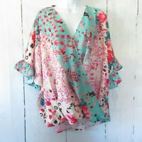 New Umgee Top 2X Green Floral Animal Ruffle Sleeve Boho Peasant Plus Size
