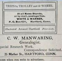 1899 Charles W. Manwaring Genealogist Hartford Connecticut Vtg Print Ad