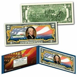 """United States of America Flag """"New Design"""" Legal Tender $2 Bill FULLY COLORIZED"""