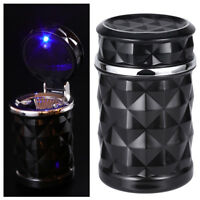 Portable LED Ashtray with Lid Cup Holder Travel Auto Cigarette Smoke Remove Hot
