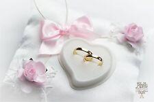 Boda Personalizado Anillo Cojines Anillo de Bodas Almohada 3c Rosa #