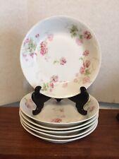 """6 Theodore Haviland Limoges France Pink Floral H3991 6 Soup Bowls 7.5"""" Mint #1"""