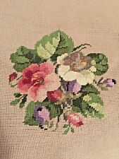 Vintage Completed Needlepoint Chair Seat Footstool Pillow Flowers Floral 16x18