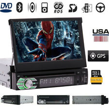 """Single 1 Din In-dash Car Stereo 7"""" HD Touch Screen DVD Player GPS Aux iPod Radio"""