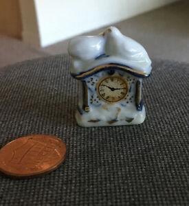 Vintage Miniature Dollhouse Blue Delft Ceramic Mantel Clock