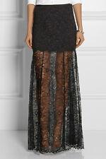 $395 DKNY Black Sheer Lace A-Line Maxi Full-Length Dress Skirt ~10 M3020