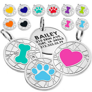 Personalized Dog Tags Pet ID Name Custom Engraved Cat Puppy Tag Bone Paw S L