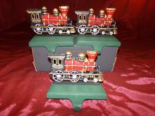 RARE ,SET of (3) Vintage VERY Heavy Cast Iron Locomotive/Train Stocking Hangers