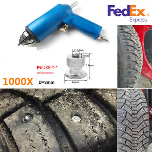 Car Motorcycle 1000x Tire Nail Studs Screw Snow Spikes+Tire Nail Air Gun Tool US