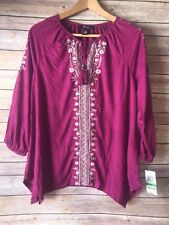 Style & Co. Womens Pink Embroidered Boho Peasant Top Wildflower Shirt Petite L