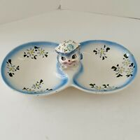 """RARE VINTAGE LEFTON """"MISS PRISS"""" BLUE KITTY 2 PART DIVIDED CANDY/NUT DISH 1507"""