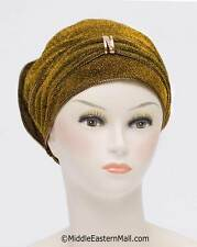 U.S.A Seller Fancy Bonnet Cancer Chemo Hijab Turban Dazzle Hijab Caps in #1 Gold