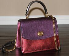 💚COACH Parker Top Handle Satchel Shoulder Bag Metallic Colorblock Leather Purse