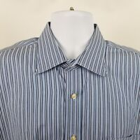 Peter Millar Mens Blue White Striped L/S Dress Button Shirt Sz Large / 17 1/2