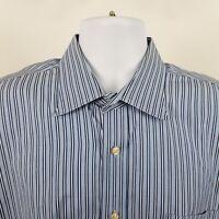 Peter Millar Mens Blue White Striped L/S Dress Button Shirt Sz Large / 17 1/2