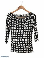 Ann Taylor Women's Black & White Checkered Long Sleeve Blouse Top Size XS Scoop