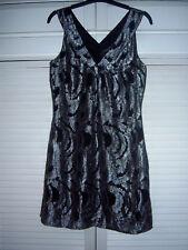 Warehouse Black/ Silver Metallic Thread Silk Summer Dress Night Out Evening 8-10