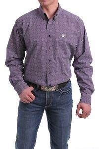 Cinch Men's Purple/White Diamond Print Shirt - MTW11049938 - Sizes M to 2XL