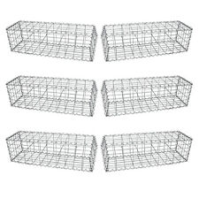Lot de 6 Paniers de Gabions Argentés en Acier Galvanisé de 100cm x 30cm x 30cm
