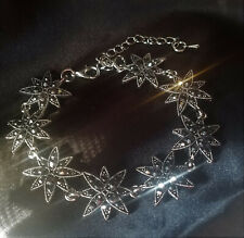 "Victorian Edwardian Style Multi Stars Bracelet, Rhinestone Marcasite, 7 1/2-8"""