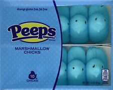 2- PEEPS BLUE CHICKS MARSHMALLOW CANDY 10pc Gluten Free 3oz seasonal ltd 5/2019
