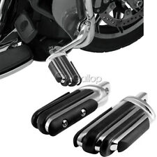 Black/Chrome Aluminum Motorcycle Footrest Foot Pegs Rest Fit Harley Davidson