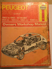 PEUGEOT 205 HAYNES WORKSHOP MANUAL PETROL Inc GTi CABRIOLET & VAN's 1983-1985