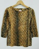 Ruby Rd. Women's Petite Medium Foil Accented Animal Print 3/4 Sleeve Knit Top