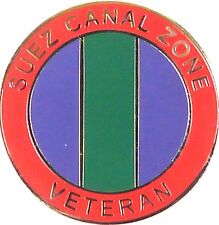 SUEZ CANAL VETERANS PLATED HAND MADE IN UK MEDAL TYPE LAPEL PIN BADGE
