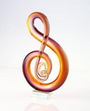 "New 11"" Hand Blown Art Glass Sculpture Music Treble Clef Note Purple Amber"