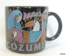 """Black Mug with Tucan Parrot Birds Cozumel Mexico 3.5"""" Colorful"""