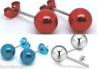 Pair Men Round Ball Post Ear Stud Studs Earrings Screwable Balls 6mm 8mm
