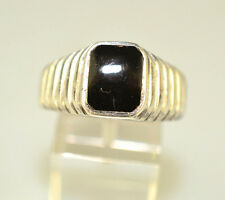 VINTAGE MENS STERLING SILVER RECTANGLE ONYX RING WITH RIDGE SIDES SIZE 12.25