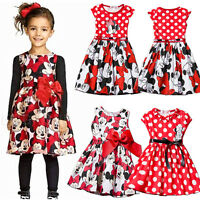 Toddler Girls Kids Dress Princess Cartoon Mickey Minnie Mouse Party Skater Dress