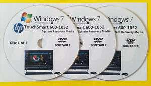 HP TouchSmart 600-1052 Factory Recovery Media 3-Discs / Windows 7 Home 64-bit