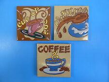 "Ceramic Art Tile 6""x6"" 3pc set Coffee kitchen trivet cup of joe Cappuccino G93"