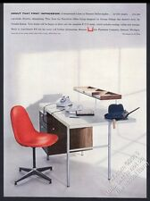 1957 Charles Eames red chair George Nelson modern desk Herman Miller print ad