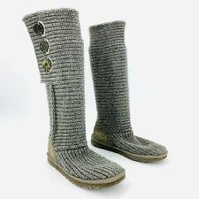 Ugg Australia Cardy Gray Knit Sweater Boot Womens Size 8