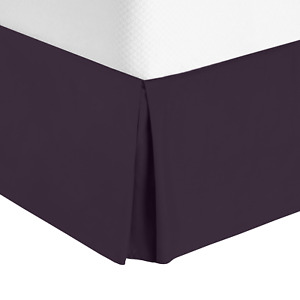 """Solid .Luxury Pleated Tailored Bed Skirt - 14"""" Drop Dust Ruffle,Full XL-Eggplant"""