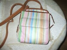 Pink blue pink purple yellow gree orange stripe leather crossbody shoulder bag