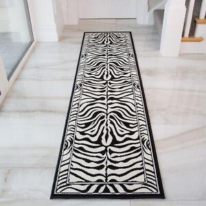Modern Black Ivory Zebra Print Long Hall Runner Rug Animal Safari Runners Cheap