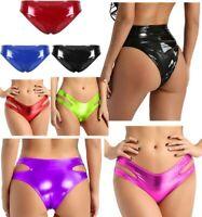 Women Lingerie Mini Bikini Thong Wet Look Patent Leather Underwear High Cut Wear
