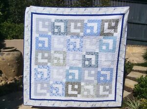 Handmade patchwork Quilt. Blue and grey box in a box (#32)